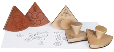 "Wooden Stamps ""Mandala With Funny Insects"", 5pcs."