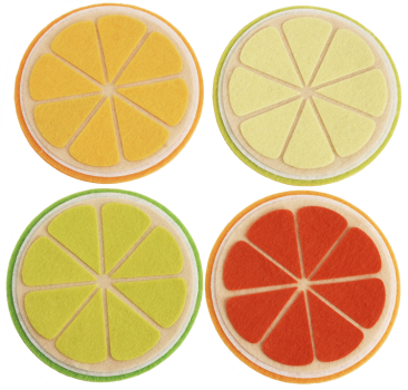 "DIY Felt Coasters ""Citrus Fruits"", Set of 4"